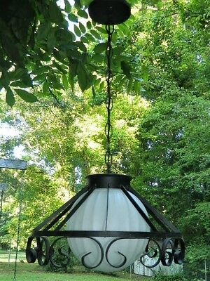 Vintage Black Wrought Iron Hanging Light White Milk Glass Melon Globe 29""