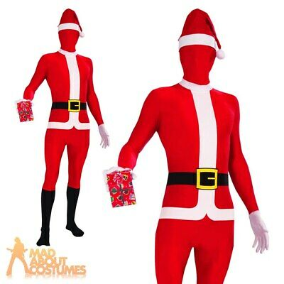 Adult Santa Suit Disappearing Man Christmas Costume Second Skin Mens Fancy Dress