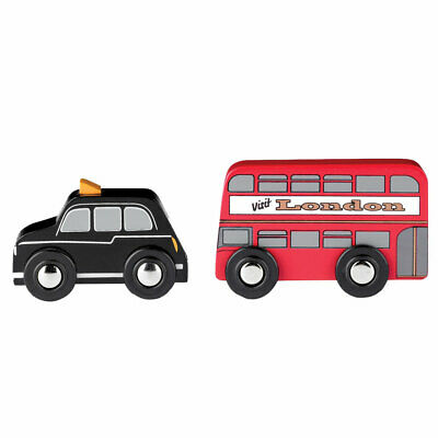 Tidlo Wooden Mini London Style Red Bus and Black Cab Vehicle Play Set Toys