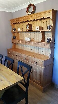 Large High Quality Solid Pine Welsh Dresser, Rustic/ Vintage/ Country/ Drawers