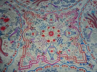 Antique Chinese Exquisitely Embroidered Silk Piano Shawl See Condition Details