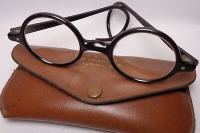 Antique Physician's Doctor's Eyeglasses Spectacles Black Frame Wire With Case