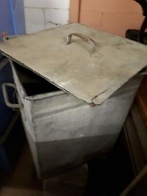 Large Heavy Old Galvanised Feed Bin with Lid