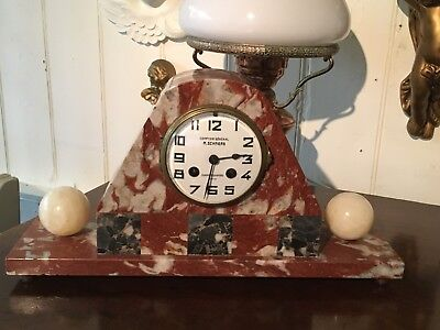 1930S Art Deco Marble Mantle Onyx Clock Compton General M Schnerb Paris French
