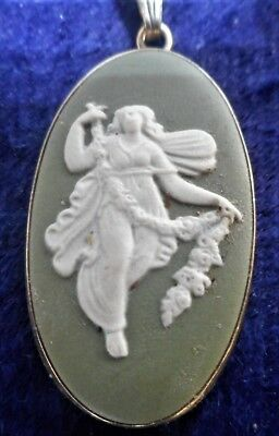 Wedgwood Sage Green Jasper Pendant & Chain Set In Sterling Silver, Perfect