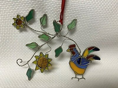 Beautiful Rooster Sunflowers Leaves Stained Glass Suncatcher Window Hanging