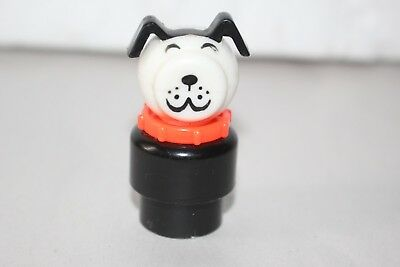 Vtg Fisher Price LITTLE PEOPLE DOG SMILING  Black & White PLASTIC