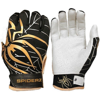 Spiderz Pro Adult 2019 Baseball/Softball Batting Gloves, Black/Copper/Silver - L