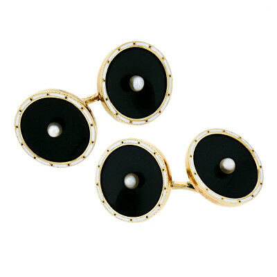 Antique Men's 14k Gold Black Onyx Disk Natural Pearls White Enamel Cuff Links