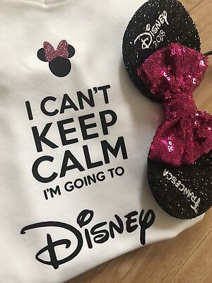 I Can't Keep Calm Im Going To Disney Boys Girls Tshirt Top 7-8 Years Age