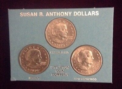 1979  P D S Susan B Anthony Dollar from mint sets 3 Coins