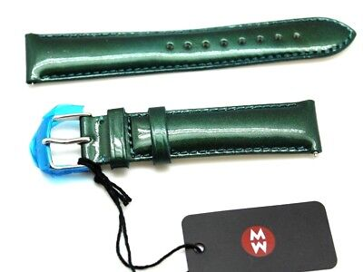 18 mm Michele Watch Leather Band Peacock Green Replacement Wrist Straps France