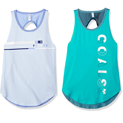 9876b84ce0 NEW YOUTH GIRLS M Under Armour UA Goals Finale Tank Top Teal Gray ...