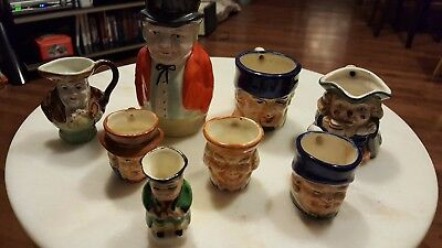 8 Various Toby Jug Mugs Creamer Japan England Small Large Mini Clown Old Man