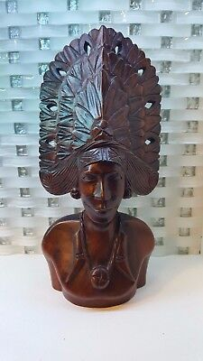 Vintage African Indian  Man Wood Carved Bust Art Tribal Chief Headdress
