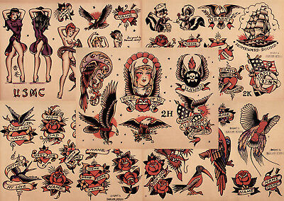 "Sailor Jerry Traditional Tattoo Flash 5 Sheets 11x14"" Set 8 Skulls Hearts Eagles"