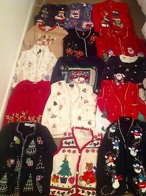 Job Lot Of Christmas Jumpers,cardigans & Waistcoats,mixed Sizes & Designs. 9.5Kg