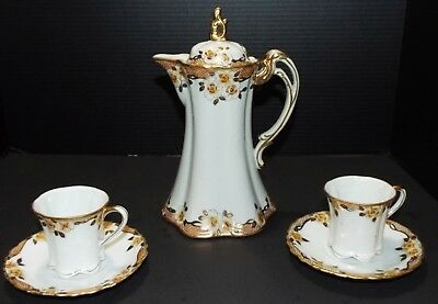 Antique Nippon Chocolate Pot & 2 Cups & Saucers Hand Painted Gold Trim