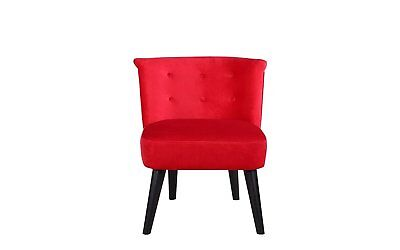 Victorian Bedroom Living Room Velvet Accent Chair with Curved Backrest, Red