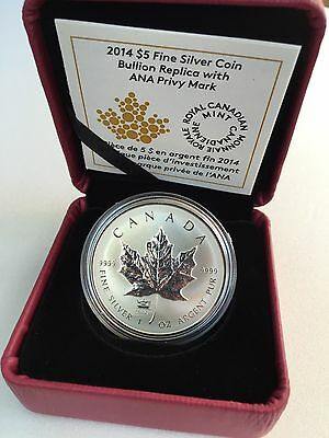 2014 Canada $5 .999 1 Oz Silver Maple Leaf Proof Finish Coin ANA Chicago Privy