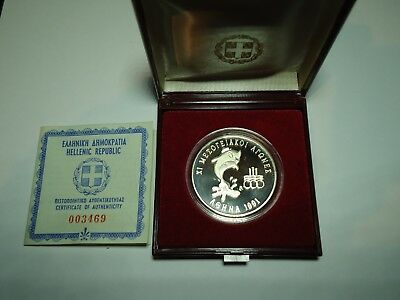 GREECE, 1991 500 Drachmai <XI Mediterranean Games> Proof silver coin
