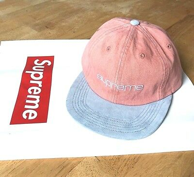 82a3e0cfb24 ... official photos cec83 d92d5 Supreme Denim Suede Compact Logo 6-Panel  Pink Ss18 2018 Camp ...