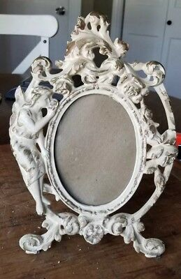 Antique Cast Iron Victorian Easel Type Picture Frame Angel Flowers