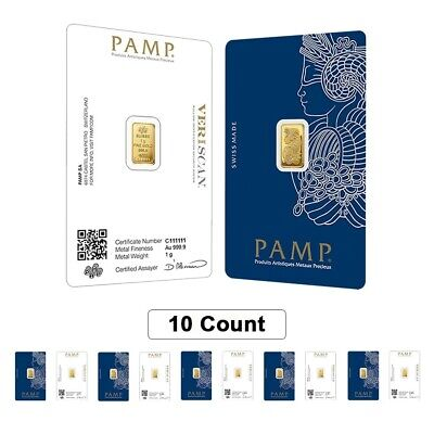 Lot of 10 - 1 gram Gold Bar PAMP Suisse Lady Fortuna Veriscan (In Assay)