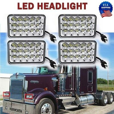 4Pcs 4X6 inch LED Headlight Hi/Lo Light Bulbs Crystal Clear Sealed Beam Headlamp
