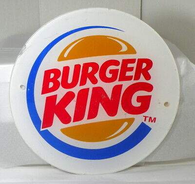 "Vintage 12"" Round Burger King Logo Advertising Store Sign"