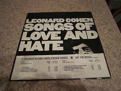 1971 Leonard Cohen Songs of Love and Hate LP Record Rare 1st Press Timing Strip