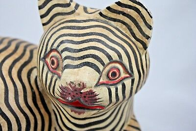 Vintage Wooden Striped Cat Tiger Cheshire Figure Decor Hand Crafted Black White
