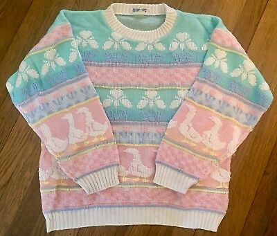 Vtg Rose 80s Sweater Pastel Pink Multi Fairy Kei Kawaii L XL Duck Goose Flowers