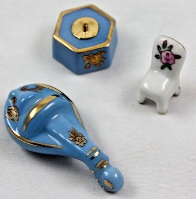 French Limoges Miniature Box Mandolin Gorgeous Blue + Chair White Gold Baby Blue