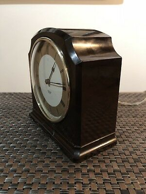 Vintage Electric Mantle Clock. Art Deco Brown Bakelite. Smith Sectric 1940s .