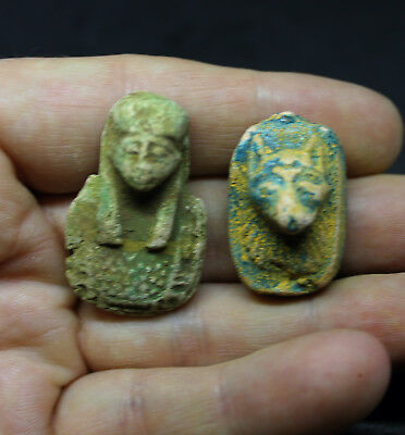 Antique Egyptian Terracotta Faience Galss Amulets x 2 Anubis