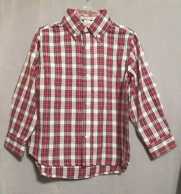 Boy's Kitestrings Long Sleeve Button-Down Shirt, NWT, 3T, Red/Navy/White Plaid