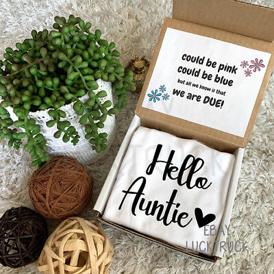 Hello Auntie Aunt Box Pregnancy Reveal Announcement Custom Baby Photography Gift