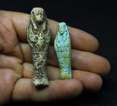 Antique Egyptian Terracotta Faience Galss Ushabti x 2