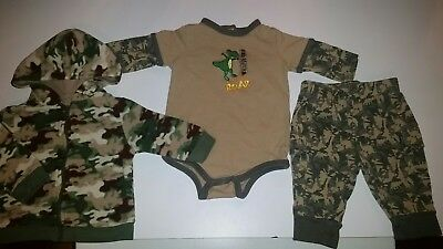 Fall / Winter Baby Boy Clothing 3 pc Lot Size 3/6 Months Camo Dinosaurs