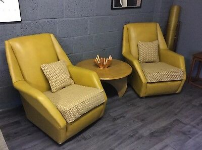vintage mid century Space Age retro 50's 60's arm chairs Mustard Yellow