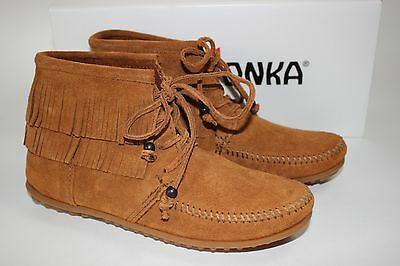 54c9184eef4 NIB MINNETONKA MOCCASIN Size 7.5 Womens Brown 100% Suede LENA Lace-Up Ankle  Boot