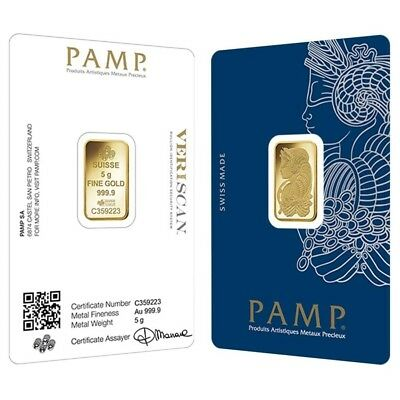 Lot of 2 - 5 gram Gold Bar PAMP Suisse Lady Fortuna Veriscan .9999 Fine (In