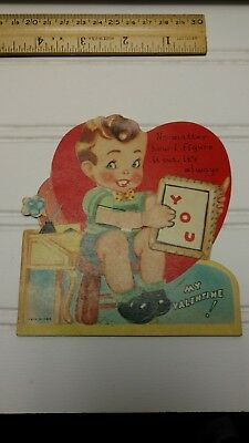 Vintage Valentine Card-Mechanical, Movement,Die Cut-Boy with Slate