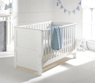 East Coast cot bed- white solid wood converts to toddler bed.