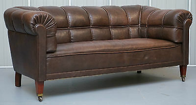 Victorian Circa 1860 Swedish Brown Leather Chesterfield Club Sofa Fully Sprung