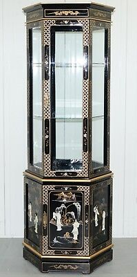 Chinese Lacquered Hand Painted Gold Leaf Mother Of Pearl Inlay Display Cabinet