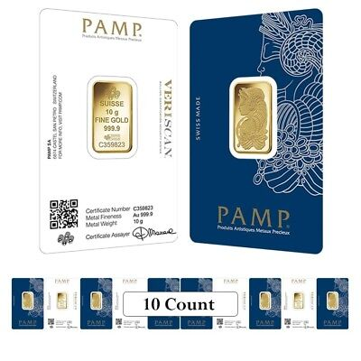 Lot of 10 - 10 gram Gold Bar PAMP Suisse Lady Fortuna Veriscan (In Assay)