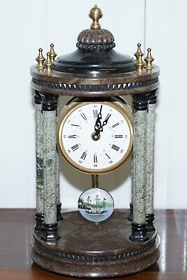 Vintage Marble Pillared Clock With Working Pendulum Movement Nautical Theme