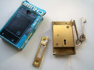 CHUBB cast brass cut cupboard cabinet lock, right hand, new boxed/old stock CHB1